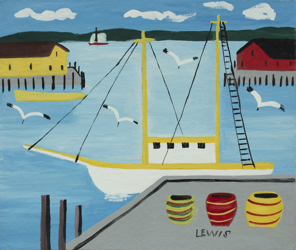 Maud Lewis Harbour with Sailboat